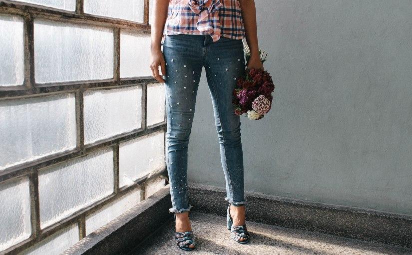 diy pearl jeans