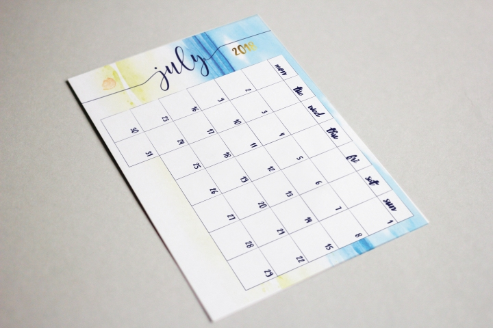 july & august calendars
